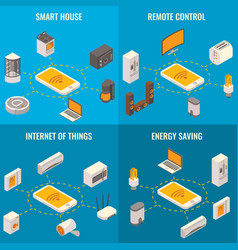 set of smart home concept isometric posters vector image