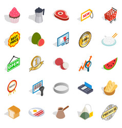 shopping complex icons set isometric style vector image