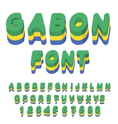Gabon font Gabonese flag on letters National vector image vector image