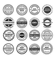 guarantee badges and logos design set vector image