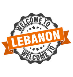 Lebanon round ribbon seal vector