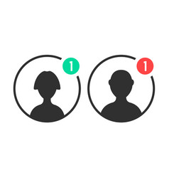Male and female user icons with notification vector