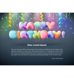 Realistic colorful Birthday poster with balloons vector image vector image