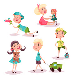 set of isolated playing kids or children vector image