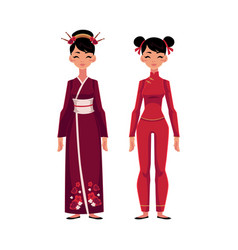 two chinese women in traditional national costumes vector image vector image
