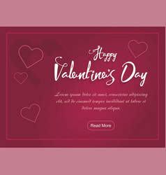 valentines day party web banner with hearts on pin vector image vector image