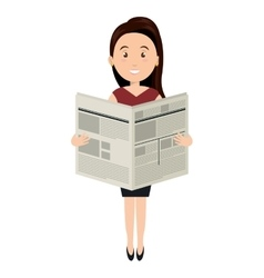 avatar woman reading newspaper vector image vector image