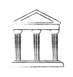 blurred silhouette parthenon architecture icon vector image