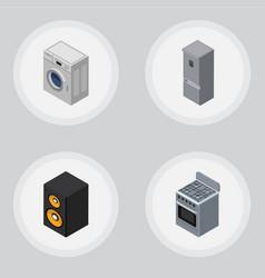 Isometric electronics set of music box kitchen vector