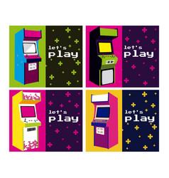 Lets play arcade design vector