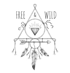 Native american boho design with text vector image vector image