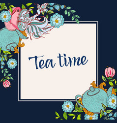 time to drink tea trendy poster vector image vector image