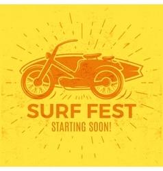 Vintage surfing tee design retro surf fest t vector