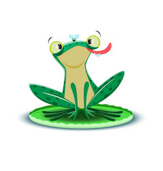 a cute little frogling catches fly vector image