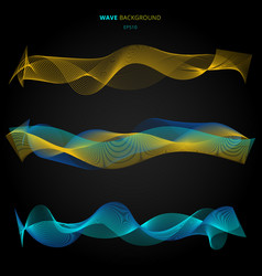abstract blue and yellow smooth waves lines vector image
