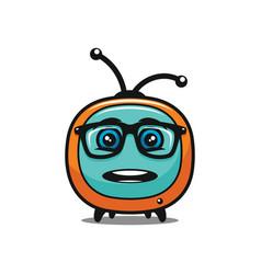Amazed tv symbol in glasses - icon vector