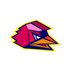 angry rooster low polygon vector image