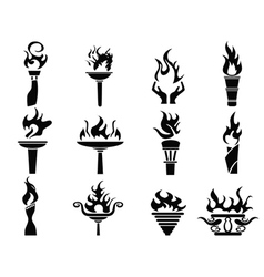 black fire flame torch icons set vector image
