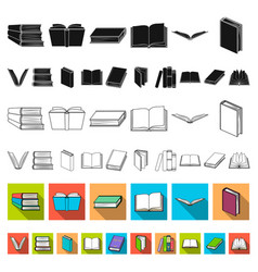 Book in the binding flat icons in set collection vector