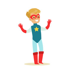 boy pretending to have super powers dressed in vector image