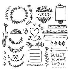 bullet journal doodle set vector image