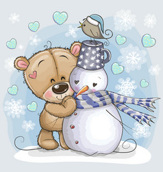 Cartoon teddy bear and a snowman vector