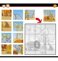 cartoon wild animals jigsaw puzzle game vector image
