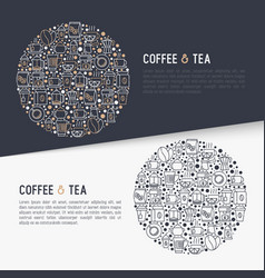Coffee and tea concept in circle vector