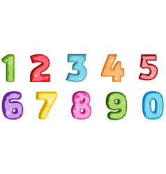 colorful set of hand drawn numbers isolated on vector image