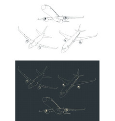 Commercial airliner drawings vector