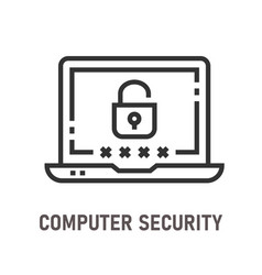 computer security line icon on white background vector image