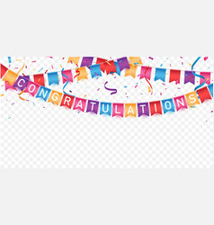congratulations sign letters banner with colorful vector image
