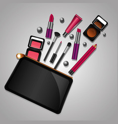 cosmetic makeup products beauty fashion set vector image