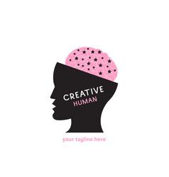 creative human logo idea pink vector image
