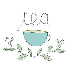Cup of tea with grass vector image