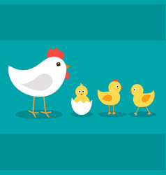 Cute cartoon chickens with their mother hen vector