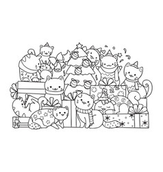 Cute cats and christmas tree vector
