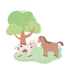 Cute cow and horse tree meadow cartoon animals in vector
