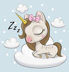 Cute unicorn a on the cloud vector