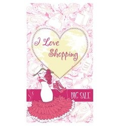 Decorative design card with evening dress and vector image