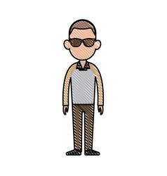 Drawing character man fashion image vector