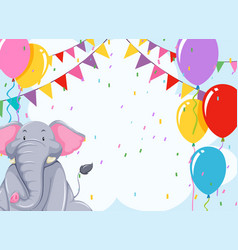 elepehant on birthday template vector image
