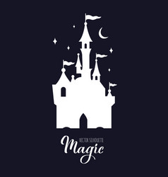 Fairy tale medieval castle silhouette witn night vector
