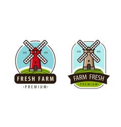 Farm fresh logo or label agriculture windmill vector