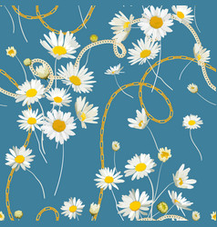 fashion seamless pattern golden chains and daisy vector image