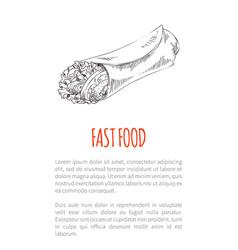 Fast food burrito monochrome vector