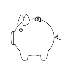 Figure pig save coins money vector