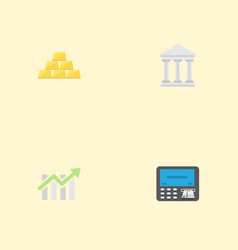 flat icons bar diagram ingot bank and other vector image