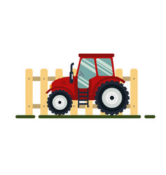 flat red tractor with fence on white background vector image