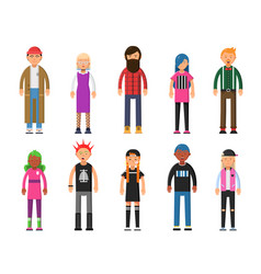 Funky young people hipsters characters male and vector